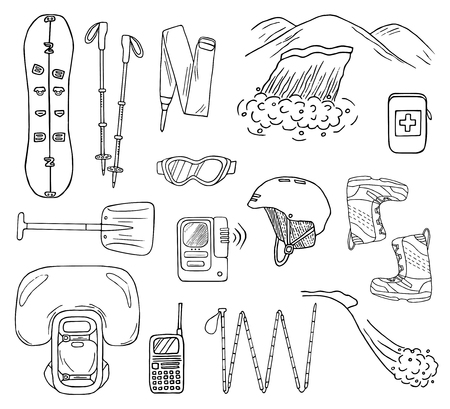 Set of hand-drawn avalanche safety gear icons. Doodle splitboard, airbag, beacon, shovel, etc.. Sketched vector illustration of equipment for freeride  イラスト・ベクター素材