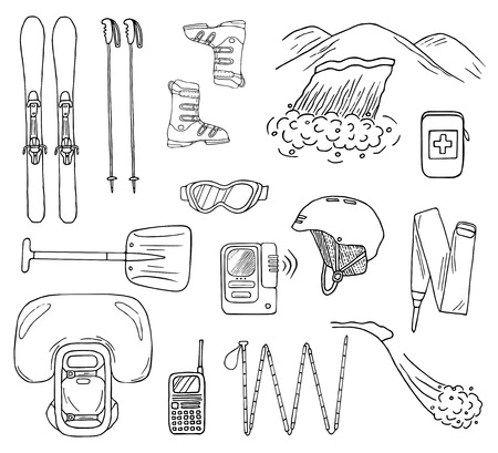 Set of hand-drawn avalanche safety gear icons. Doodle skis, probe, beacon, shovel, etc.. Sketched vector illustration of equipment for backcountry