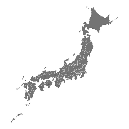 Administrative map of Japan with prefectures. Vector illustration isolated on white background Ilustração