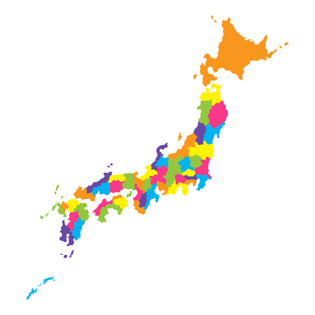 Administrative map of island country Japan with prefectures. Color vector illustration isolated on white background Ilustração