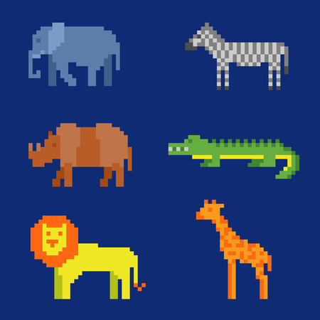 Set of pixel animals icons. Zoo or wild fauna of Africa (lion, crocodile, elephant, etc.) in 8 bit game retro style. Color vector illustration