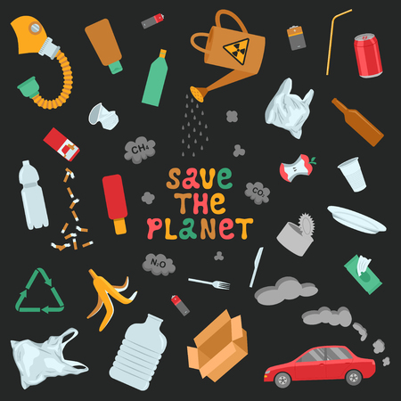 Save the planet poster. Garbage and environmental pollution. Color flat vector illustration Ilustração