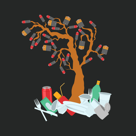 Batteries growing on tree and soil contamination with garbage and food waste. Ecological concept. Color vector illustration Illustration