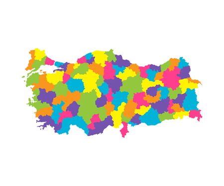 Color map of Turkey with regions and sections.Flat vector illustration on white background