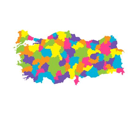 Mapa de color de Turquía con regiones y secciones.Ilustración de vector plano sobre fondo blanco