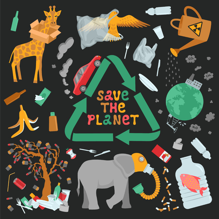 Save the planet infographic. Garbage, global warming and environmental pollution. Color flat vector illustration Ilustração