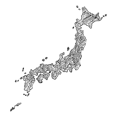 Hand drawn map of Japan painted with charcoal. Black and white sketched vector illustration