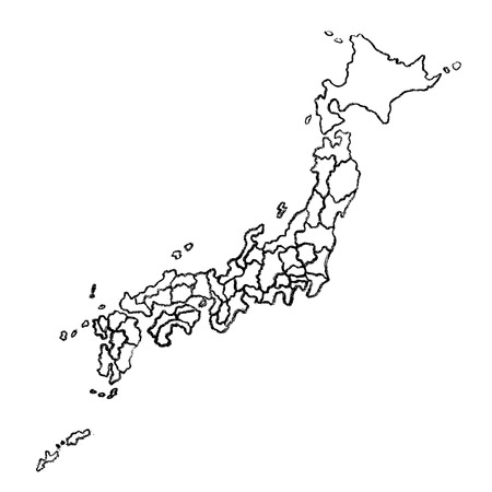 Hand drawn map of Japan country. Black and white charcoal illustration