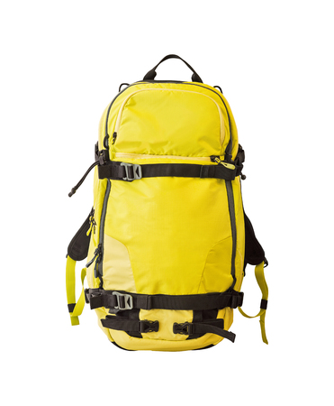 Front view of yellow backpack with straps for trekking, ski tours, freeride and other activities. Sport equipment isolated on white background