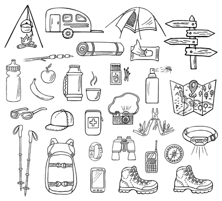 Set of hand-drawn camping icons isolated on white background. Doodle equipment, accessories, clothes, etc. for trekking and hiking. Black and white sketched vector illustration Vektorové ilustrace