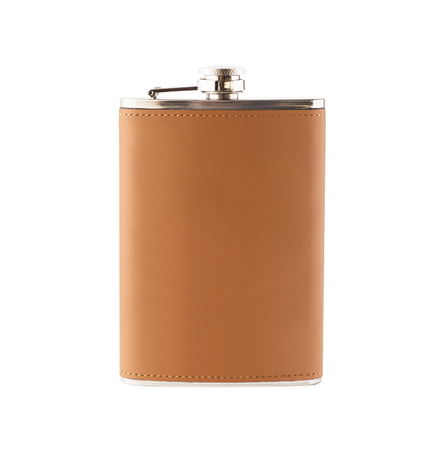Mockup of leather hip flask for alcoholic drinks isolated on white background