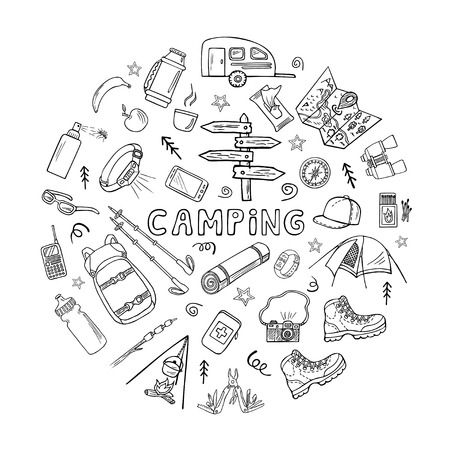 Set of hand-drawn camping or trekking icons in round frame for web banners, cards, etc. Black and white sketched vector illustration