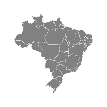 Administrative map of Brazil country. Vector illustration isolated on white background