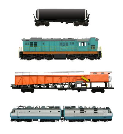 Conjunto de transporte ferroviario con locomotoras, cisternas y vagones de remoción de nieve, etc. Vehículos ferroviarios aislados sobre fondo blanco