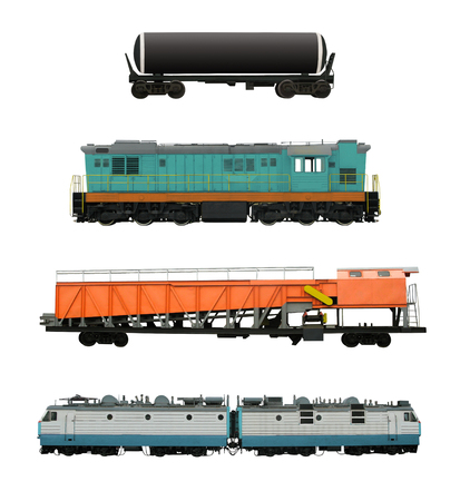 Set of railroad transport with locomotives, cistern and snow removal cars, etc. Railway vehicles isolated on white background