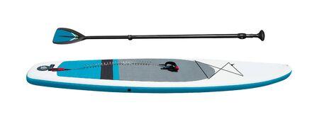 Vue latérale du stand-up paddleboard avec rame pour le surf SUP isolé sur fond blanc. Équipement de sport