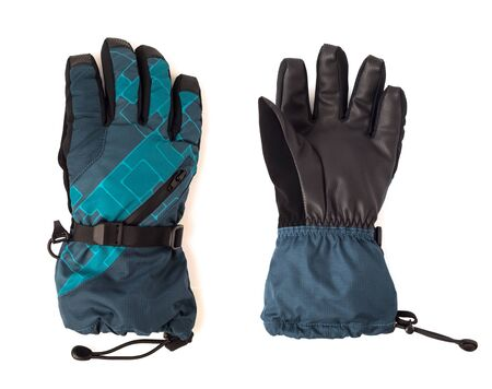 Ski gloves with straps and leather back isolated on white background. Protective sport accessories Imagens