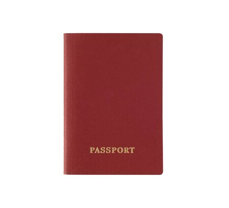 Red foreign passport isolated on white background. Document for travel abroad