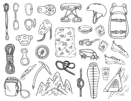 Set of hand-drawn climbing icons isolated on white background. Doodle black and white illustration of equipment, tools and accessories for alpinism and mountaineering