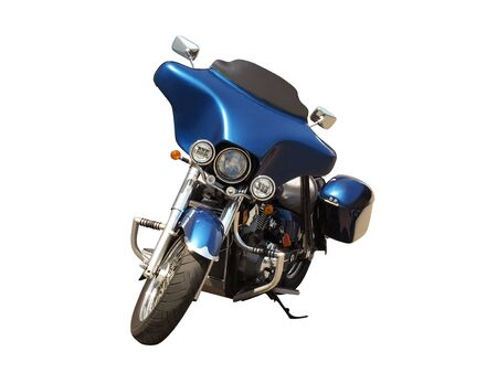Front view of blue motorcycle isolated on white background