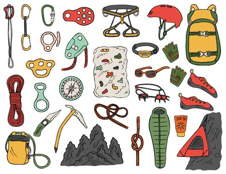 Set of hand-drawn climbing icons isolated on white background. Doodle color illustration of equipment, tools and accessories for alpinism and mountaineering