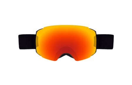 Front view of ski goggles with mirror anti fog lens isolated on white background Imagens
