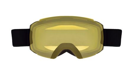 Ski goggles with yellow cylindrical lens isolated on white background. Sport equipment for skiing and snowboarding