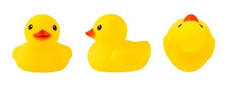 Set of front, side and top views of yellow rubber duck isolated on white background Imagens