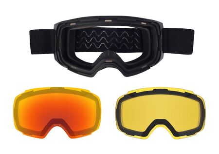 Top view of ski goggles with magnetic removable lenses. Sport accessories isolated on white