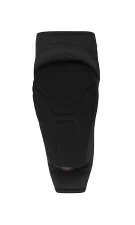 Black elbow pad isolated on white background. Extreme sport slip-on protective accessory Imagens