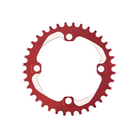 Top view of red chainring component for bicycles isolated on white background Imagens