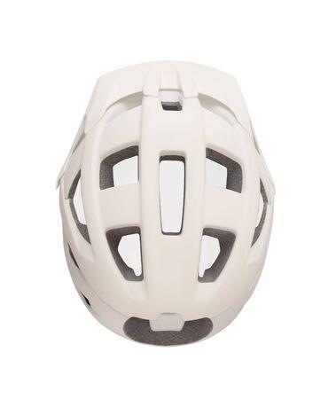 Top view of bicycle helmet with visor isolated on white background. Sport equipment for bike, roller skates, skateboard, etc. Imagens