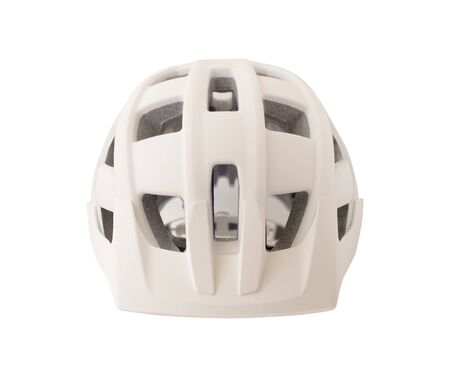 Front view of bicycle helmet isolated on white background. Sport equipment for bike, roller skates, skateboard, etc.