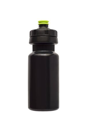 Black water bottle for fitness and bicycle isolated on white background Imagens