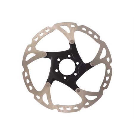Disc brake rotor for mountain bikes isolated on white background. Bicycles equipment Imagens