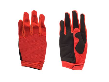 Pair of red bike or motorcycle mesh gloves isolated on white background Imagens