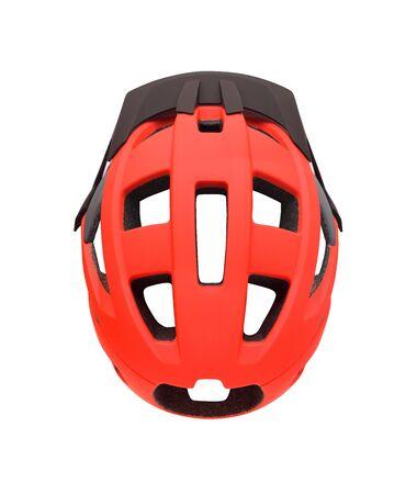Top view of red bike helmet with visor isolated on white background. Sport equipment for bike, roller skates, skateboard, etc.