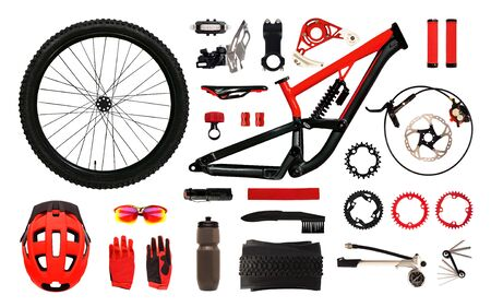Set of bicycle accessories and equipment isolated on white background. Flat lay of bike parts and instruments