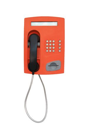 Red vintage payphone for phone cards isolated on white background Banco de Imagens