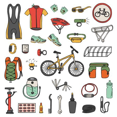 Set of hand-drawn bicycle equipment and clothes isolated on white. Color vector illustration of bike tools and accessories