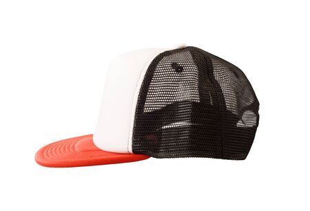 Side view of mesh trucker hat isolated on white background Banque d'images