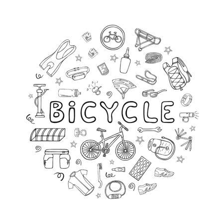 Set fietsuitrusting en kleding doodle pictogrammen in ronde frame. Hand getekende vectorillustratie Vector Illustratie