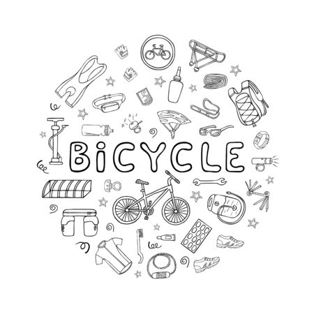 Set of bicycle equipment and clothes doodle icons set in round frame. Hand drawn vector illustration