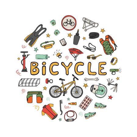 Set di attrezzature per biciclette e vestiti doodle icone impostate nel telaio del cerchio. Illustrazione vettoriale di colore disegnato a mano