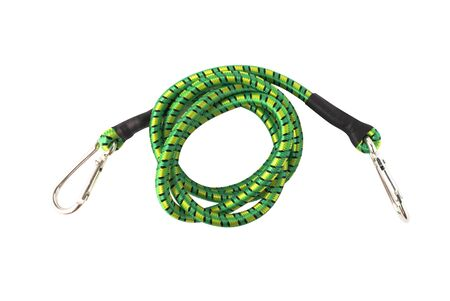 Top view of carabiners and green rope. Climbing and tourist equipment isolated on white background Stock fotó
