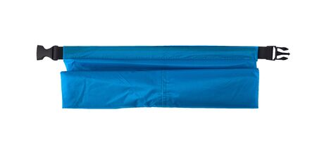 Top view of blue dry bag for outdoor activities and extreme sport isolated on white background