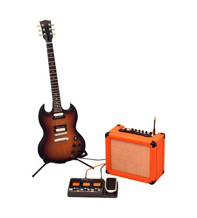 Set of electric guitar, combo amplifier and processor isolated on white background