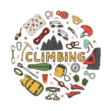 Set of climbing equipment and accessories doodle icons set. Hand drawn color illustration