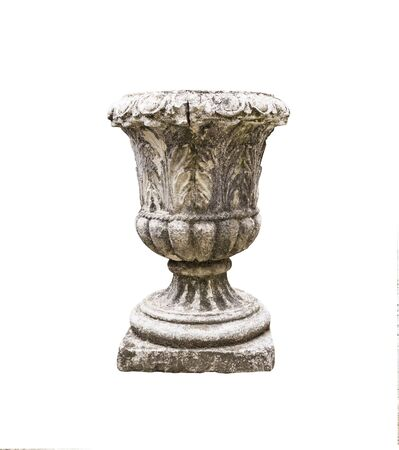 Antique stone vase for flowers isolated on white background. Decorative design element for gardens Stock Photo