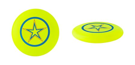 Top and side view of yellow flying disc.